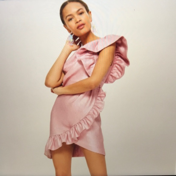 276b5055f514 Topshop Dresses | Pink Metallic Ruffle One Shoulder Nwt | Poshmark